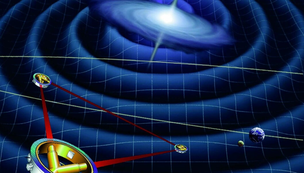 LISA will be the first space-based mission that attempts to detect gravitational waves – ripples in space, caused by exotic objects such as black holes (Illustration: ESA)