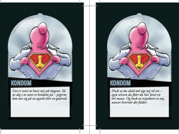 The texts below the pictures of the condom man include information about how to put on a condom and a the line 'Everyone has the right to say no to sex.' (Screenshot from the game LoveSick. Currently available in Danish only.)
