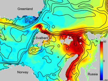 Future production in the Arctic Ocean and Barents Sea: models can predict the growth of phytoplankton in the Arctic of the future. This model shows an estimate of how the annual production will be at the end of this century (2080 - 2099) compared to the annual primary production for the period 2001-2020. The yellow and red areas indicate where the production will increase, and the green and blue areas show where production will decrease. The unit of measurement is degrees C/m2/year. (Illustration reworked from Ellingsen et al.)