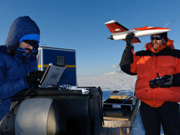 Atmospheric temperature, wind speed and humidity can be measured by small unmanned aircraft. Finnish Meteorological Institute research scientists Priit Tisler and Rostislav Kouznetsov are preparing to launch a plane in the vicinity of the Aboa research station in January 2011. (Photo: Timo Vihma)