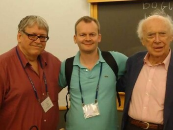 Participants at the international conference Copenhagenomics. Pictured from the left are Professor James Lupski of the Department of Molecular and Human Genetics at Baylor College of Medicine, Houston, Texas, Bogi Eliasen (centre) and Nobel Prize winner James Watson.