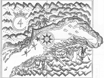 James Hall's map of the Itivdleq Fjord, which he called Kong Christians Fjord after the Danish monarch. Apart from geographical features, several Greenlanders are depicted on the map. The man with a kayak over his shoulder is holding a bird spear in his left hand; the larger of the two Greenlanders pictured on the right of Christian IV's monogram is also holding a bird spear. (From the 1606 expedition. After Gosch: Danish Arctic Expeditions, 1605 to 1620.)