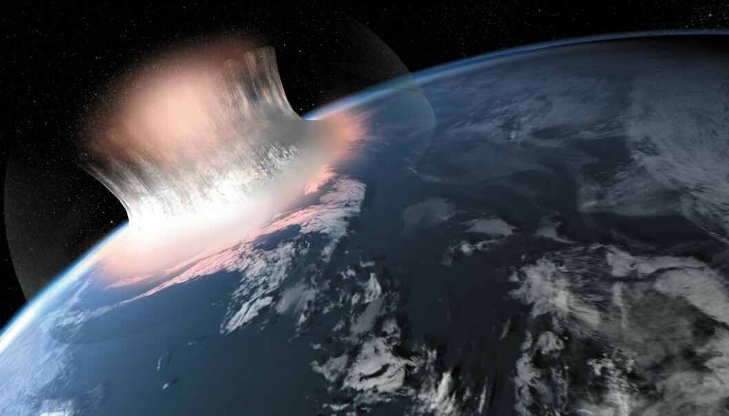 An artist's rendition of how a giant meteorite impact in a marine area might have looked like in the first second of crater formation. (Illustration: Carsten Egestal Thuesen, GEUS)
