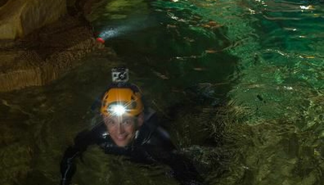 Earlier this week, the six astronauts got a little taste of life underground. Here they're swimming through a small cave filled with water. (Photo: ESA V.Crobu)