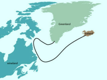 On his way to Greenland to visit his father, Bjarni Herjólfsson's ship was blown off course by a storm. The ship ended up on the shores of North America, but Bjarni was intent on reaching Greenland before the end of the sailing season, so he didn't go ashore in this new land. He headed north and eventually reached Greenland. (Graphic: Mette Friis Mikkelsen)