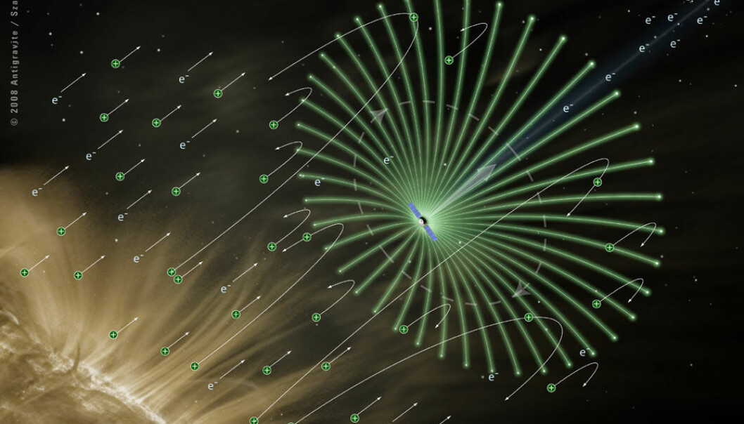 The electric solar wind sail will not use sunlight, but hydrogen nuclei and electrons that blast away from the Sun. (Illustration: Alexandre Szames, Antigravite, Paris)