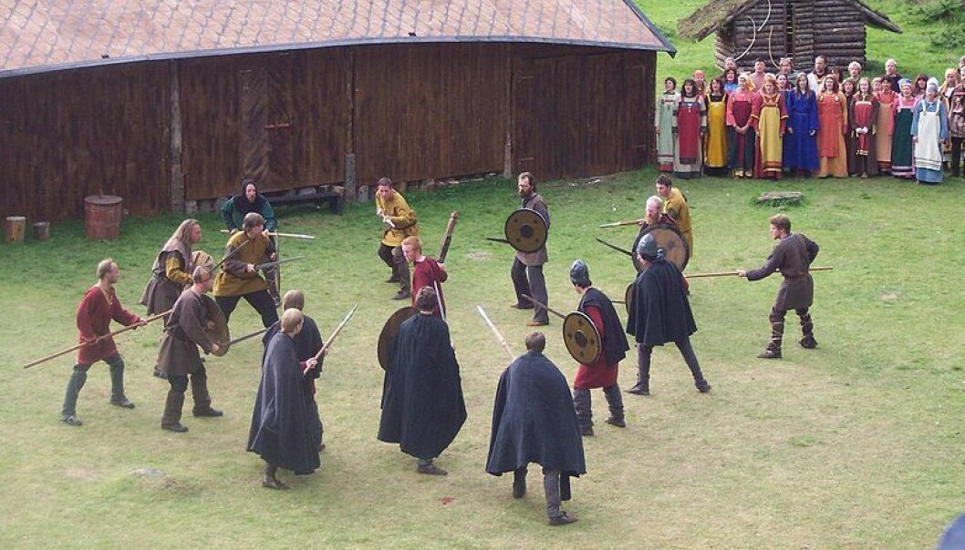 When Viking men played their games, the women watched - except in drinking games. This is a scene from at saga play in Steigen, Norway. (Photo: Mari Pedersen)