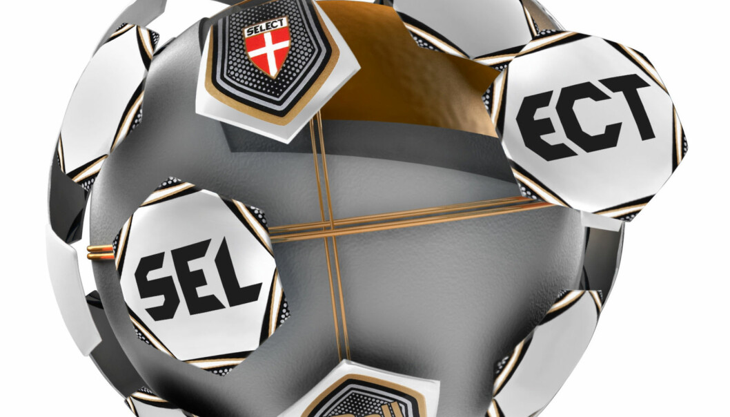 A computer image of Select's iBall with GoalRef technology. The three copper coils cover all areas of the ball, so the ball will be detected no matter how it crosses the goal line. (Photo: Select)