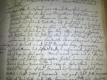The earliest evidence of New Year's antics in Denmark can be found in a document at the Danish State Archives. (Photo: Charlotte S. H. Jensen)