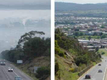 This is how bad it can get in a valley in Tasmania, when (left) there's a high degree of wood stove pollution and (right) there's none. If this kind of dense and constant smoke is removed, it reduces mortality rates, say the researchers behind the new study. (Photo: British Medical Journal)