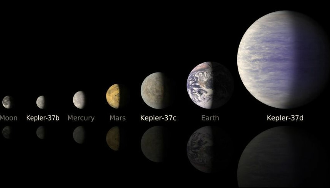 This line-up compares artist's concepts of the planets in the Kepler-37 system to the moon and planets in the solar system. The smallest planet, Kepler-37b, is slightly larger than our moon, measuring about one-third the size of Earth. Kepler-37c, the second planet, is slightly smaller than Venus, measuring almost three-quarters the size of Earth. Kepler-37d, the third planet, is twice the size of Earth. (Illustration: NASA/Ames/JPL-Caltech)
