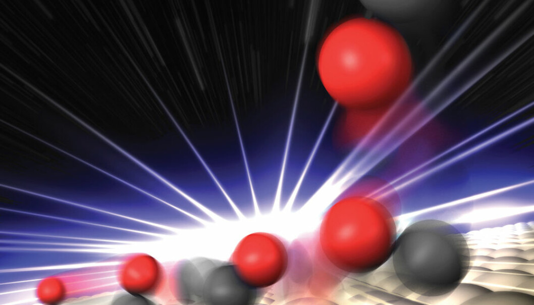 The researchers used a new free-electron X-ray laser to study how CO molecules react on the surface of a catalyst. Danish researchers have helped develop the theoretical background for the experiment. (Graphic: Greg Stewart/SLAC National Accelerator Laboratory)
