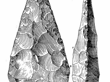A coup de poing (French for 'blow of the fist') is a Lower Paleolithic stone hand axe, pointed or ovate in shape with sharp cutting edges.              (Photo: Wikimedia Commons)