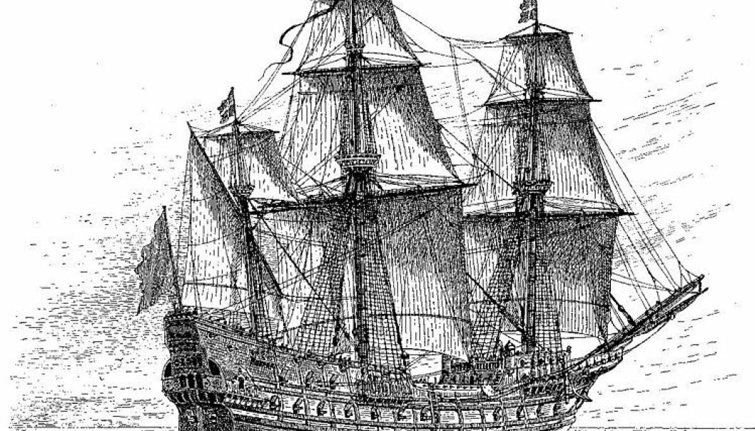 A drawing of the Swedish warship Mars, also known as the Makalös (Peerless), which was constructed between 1563 and 1564 (Illustration taken from Wikipedia)