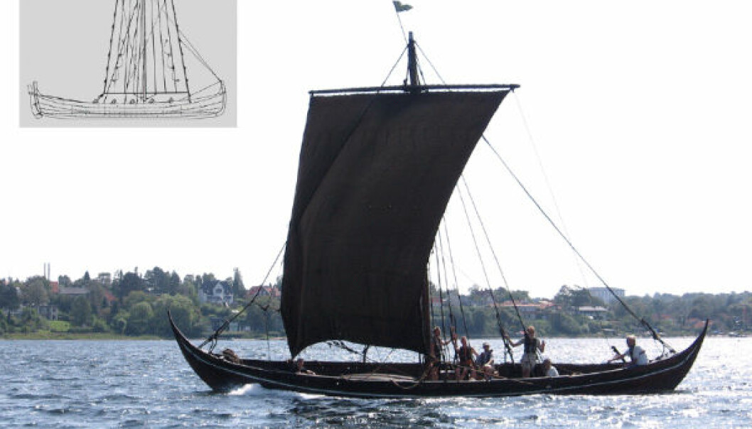 A full-scale replica of wreck 3 from Skuldelev. Inserted is a drawing of a 19th century fishing vessel from Norway. (Illustration: Ole Kastholm/Bernhard Færøyvik)
