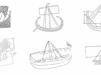 A selection of Scandinavian ship pictures from rune stones, coins, picture stones and graffiti, dated to the period from the 8th to the early 12th century. (Illustration: Ole Kastholm)