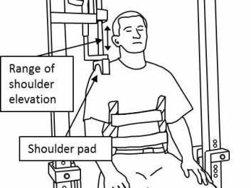 The exercise in the so-called shoulder dynamometer consisted of bilateral shoulder shrug movements to counteract the force of a descending shoulder pad. Once the movement has been completed, the shoulder pad goes back into the top position, without the subject having to press it upwards. (Photo: Steffen Vangsgaard)