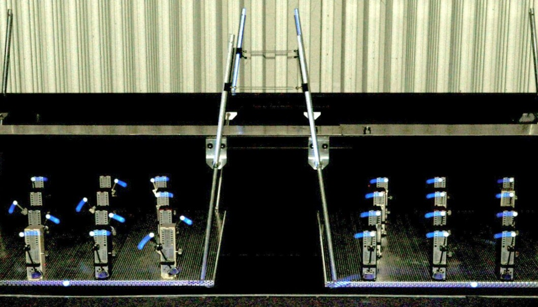 In the experiment, 30 metronomes were started at random. The metronomes were placed on two swings connected by two springs. (Photo: Erik Andreas Martens)
