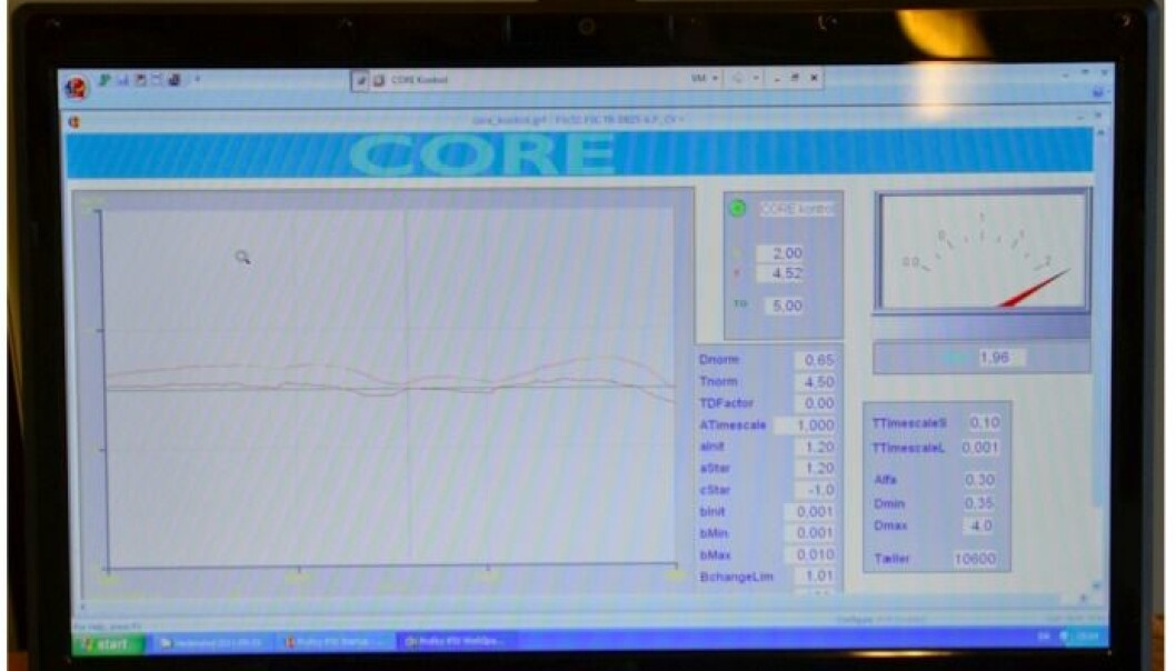 Screenshot of one of the mathematical models used to optimise industrial machinery. (Photo: Joakim Juhl, 2011)