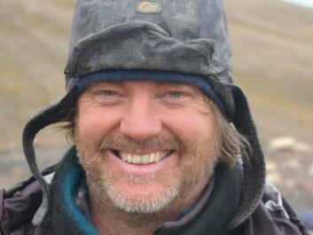 Jørn Hurum during one of his own marine lizard excavations on Svalbard, Norway.