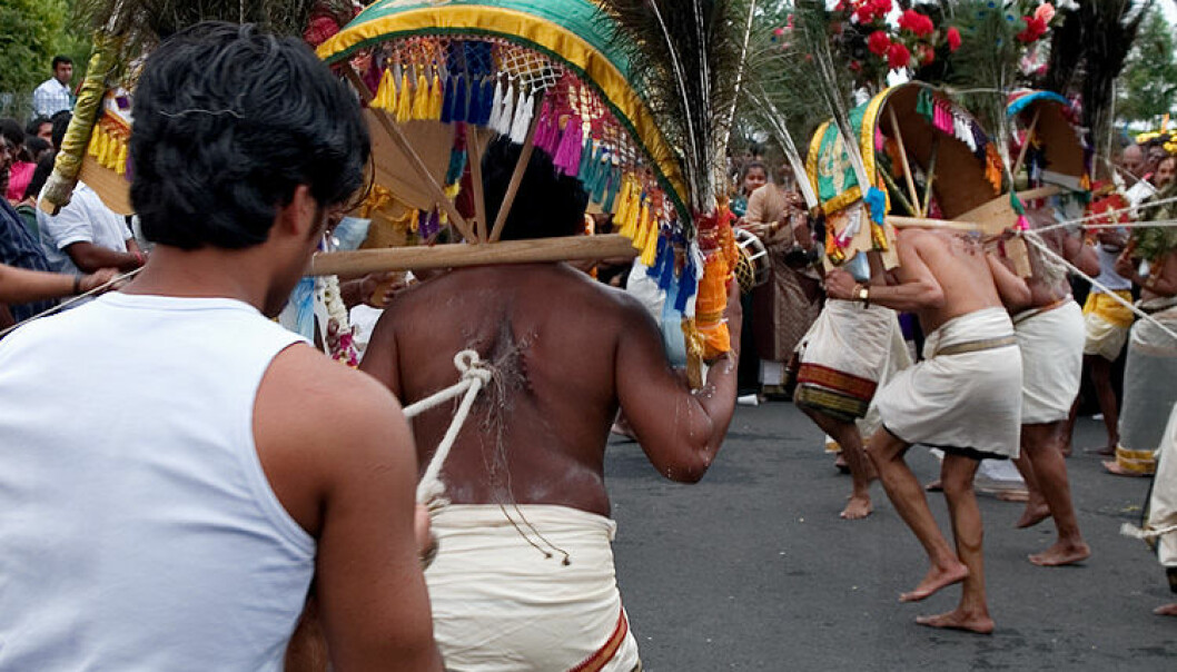 Participants of the Mauritian Kavadi ritual carry heavy bamboo constructions for hours while being pierced with spears and needles. (Photo: Wikipedia/Michael Höfner)