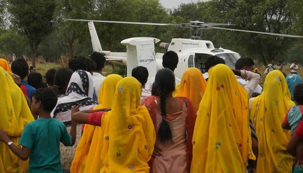 Danish researchers have started looking for groundwater in India with their SkyTEM airborne surveying technique. (Photo: Aarhus University)