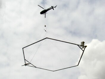 The SkyTEM technology makes use of a large ring hanging from a helicopter. The ring functions as a coil with a powerful electromagnetic field. This generates a current in the subsoil, which allows the researchers to create a 3D map of India's underground water supply. (Photo: Aarhus University)