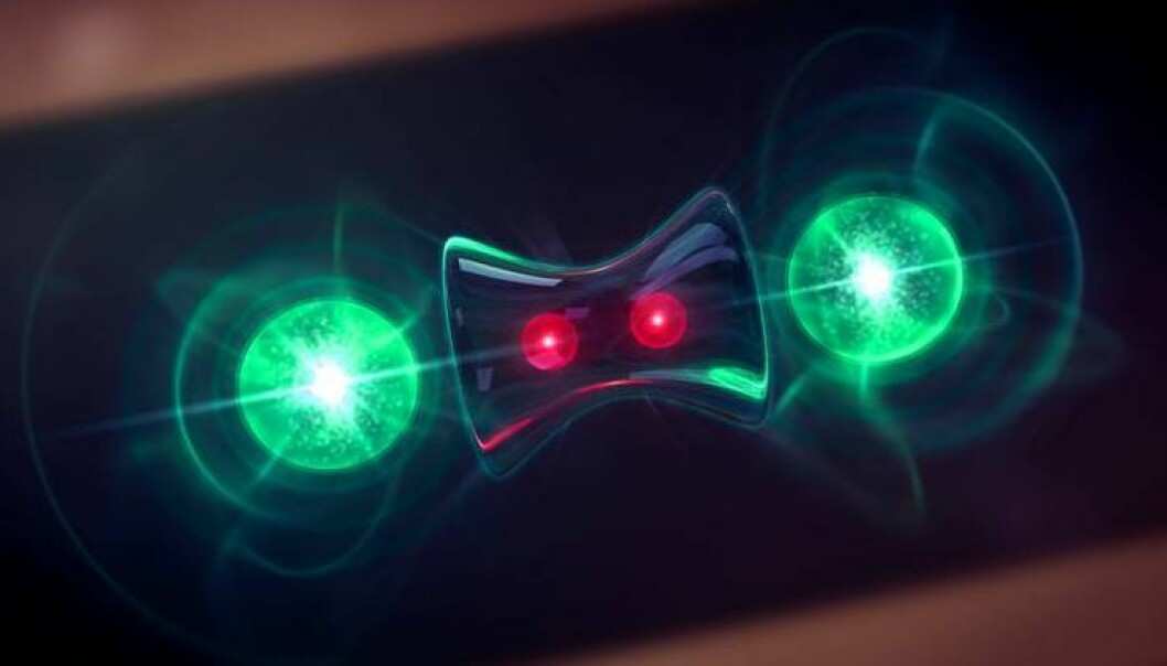 An artist's impression of the experiment. Four ions are trapped on a line. The outer Magnesium ions (green) cool the system by emitting light. Lasers are used to prepare the inner Beryllium ions (red) in an entangled state where the state of the particles cannot be understood individually. Instead, one needs to consider the two ions as a whole. As opposed to previous experiments, the latter process also occurs by the emission of light. (Credit NIST).