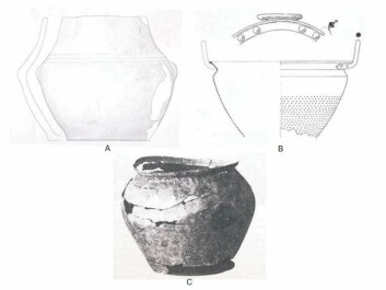 The three Danish jars. The oldest one (A) is believed to date back to 1500-1300 BC. The second-oldest one (B) turned out to contain remains of wine. The youngest jar (C) dates to around 200 BC. (Photo: Patrick E. McGovern et al.)