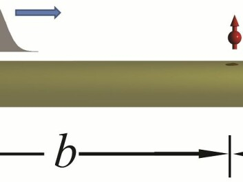 The researchers will send a photon along an ultra-thin silver thread (b). The leading edge of the photon is reflected at the end of the thread (d). On its way back, the reflected light crashes into the trailing edge of the photon, resulting in waves of stronger light. These waves have a greater chance of hitting the atom (red), which is located very close to the silver thread. (Illustration: Chen et al/DTU)