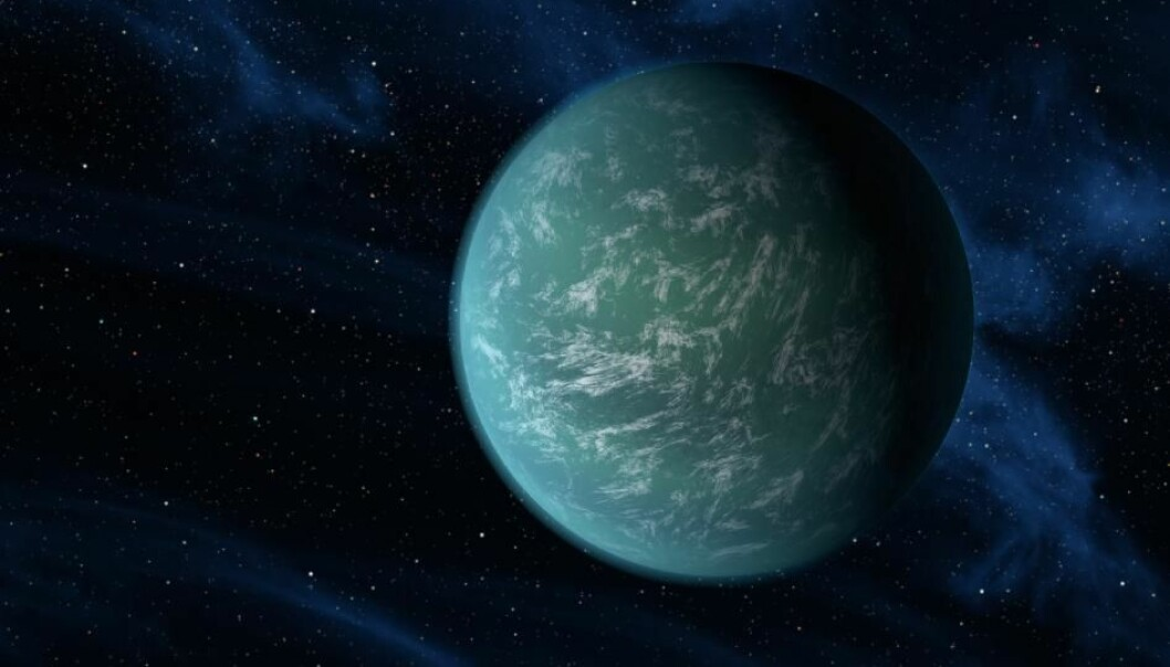 Kepler-22b is the first planet outside of our solar system whose orbit has been confirmed to be located within the habitable zone of a sunlike star – the region around a star where temperatures allow for water to exist. (Illustration: NASA)