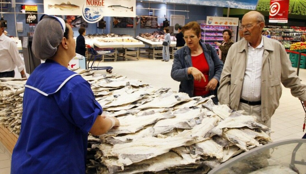 Salted cod from Norway at Continente Colombo supermarket in Lisbon, Portugal. (Photo: Lise Åserud, NTB scanpix)