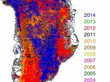More heat means more ice melting. The colours on the map of Greenland show which years the ice sheet reached the lowest levels of reflection -- i.e. when the ice was at its darkest. The blue areas show the places where the levels reached it's minimum in 2014. (Illustration: Jason Box).