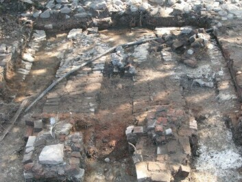 The remnants of a brick kiln where Anna Ihr excavated quantities of vitreous material. It had functioned as insulating material on the exterior of the kiln. (Photo: Anna Ihr)