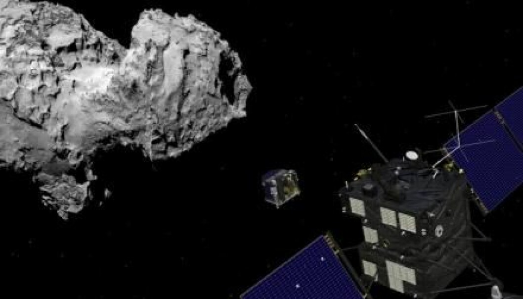 Earlier this year the Rosetta spacecraft reached the comet 67P/ Churyumov-Gerasimenko and went into orbit around it. On Wednesday, 12 November 2014, Rosetta will release its landing module, Philae, which will attempt to land on a comet for the first time in history. (Illustration: ESA)