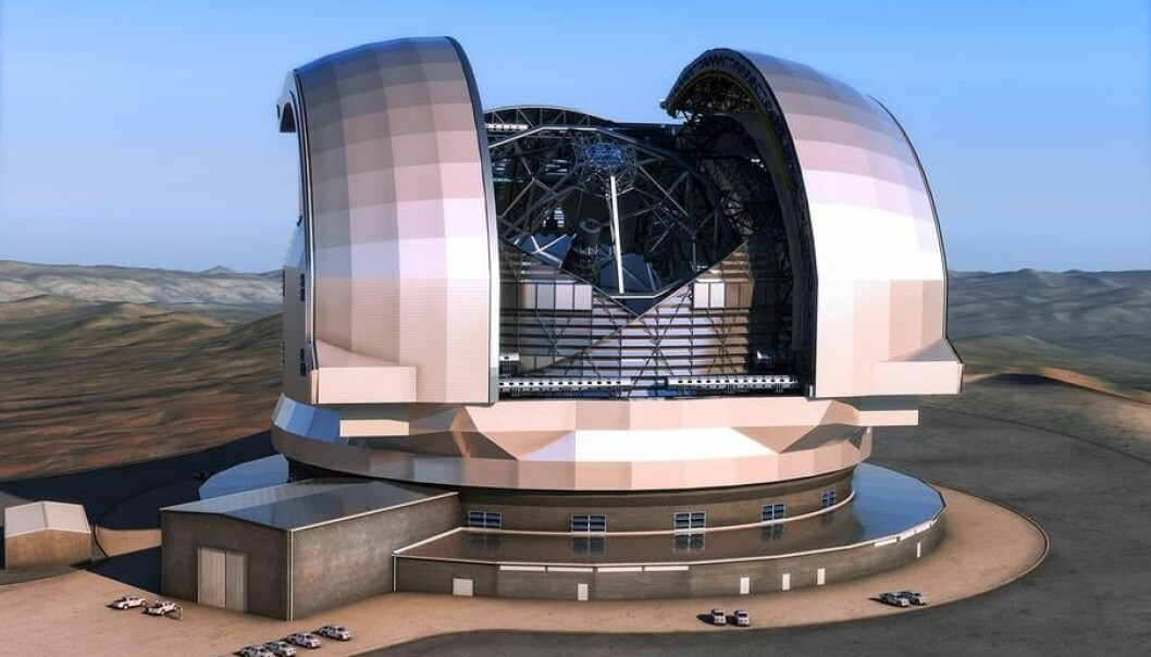 The illustration shows the European Extremely Large Telescope (E-ELT) in its domed building. The E-ELT will have a diameter of 39 metres. It will be able to capture both visible and infra-red light. It is to be built on Cerro Armazones in Chile's Atacama Desert. (Photo: ESO/L. Calçada)