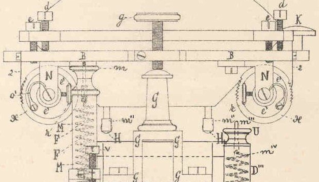 A diagram of what later became known as the typewriter. The 'Writing Ball' won honours at the World Exhibition in 1872 but never became a commercial success.