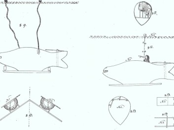 Winstrup's submarine was about ten meters long and could move up and down using propellers connected to axles and cogwheels. He appended to his patent application a number of technical drawings that illustrated the submarine's functions, including a system of lighting inside 'the Whale'. (Illustration: Winstrup, Danish State Archives)
