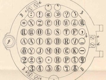 In his patent application, Rasmus Malling Hansen explained the positioning of the letters on his keyboard and he appended this drawing of the 'Writing Ball'. (Illustration: Hansen, Danish Patent and Trademark Office)