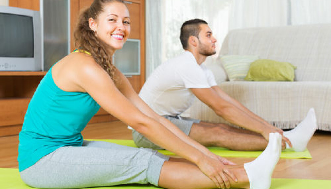 """By analysing molecular processes, scientists have described for the first time how white fat cells are converted into brown fat cells. (Photo: <a href=""""http://www.shutterstock.com/pic-227353789/stock-photo-happy-smiling-couple-having-yoga-class-at-home-focus-on-girl.html?src=csl_recent_image-1&ws=1"""" target=""""_blank"""">Shutterstock</a>)"""