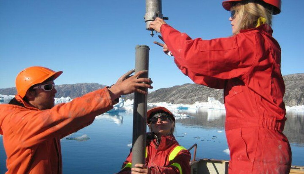 The Danish geologists were the first to take sediment samples from the bottom of Greenland's Sermilik Fjord, where the Helheim Glacier terminates. Using the samples, the researchers have mapped the glacier's development over the past 120 years (Photo: Robert Fausto)