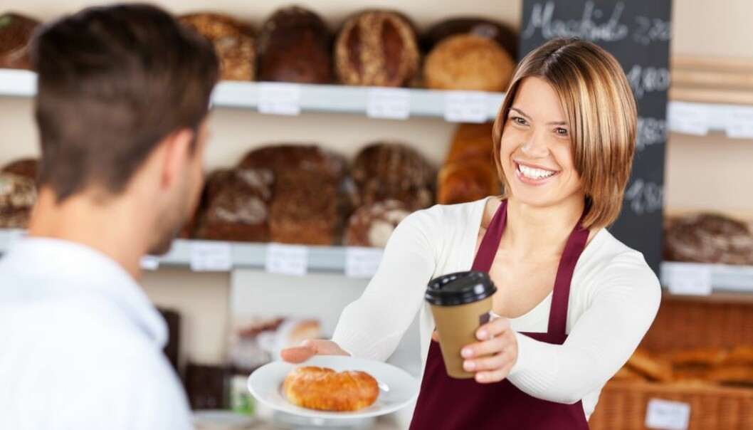 "Many foods, such as bread and coffee, are cooked above 120°C and develop acrylamides. New research shows that this can help to increase the effects of other carcinogenic substances. (Photo: <a href=""http://www.shutterstock.com/da/pic-142450363/stock-photo-female-baker-giving-coffee-and-croissant-to-male-customer-in-the-bread-store.html?src=&ws=1"" target=""_blank"">Shutterstock</a>)"