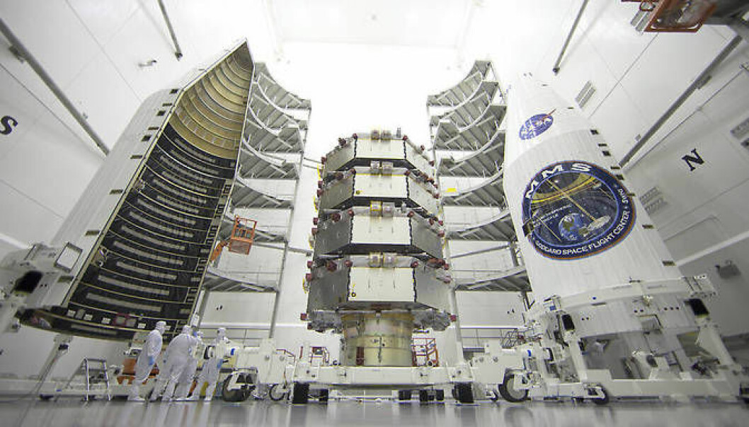The MMS mission consists of four identical spacecraft which will fly around the Earth at between 900 and 150,000 kilometres above the surface. (Photo: NASA)