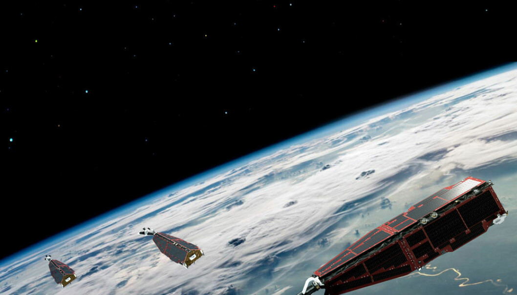 The three SWARM satellites are part of ESA's 'Living Planet Programme' and will spend the next five years measuring the Earth's magnetic field from every possible angle. (Photo: ESA/AOES Medialab)