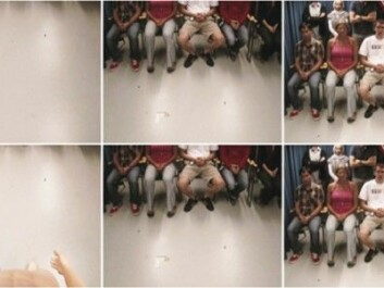 Upper row from left to right: The test with a critical audience as seen in a series of images. First the illusion of invisibility was created with a brush. A recording made by the camera sweeping up to view the audience was shown while the tester slowly lifted the VR goggles and asked the volunteer to raise his or her head accordingly. In the lower row the same procedure was followed using a mannequin. Now the volunteer, no longer feeling invisible, displayed more social insecurity. (Images from the study published in Scientific Reports. Creative Commons Attribution 4.0 International Licence.)