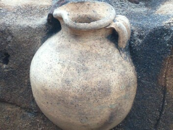 A vessel on top of the jug helped protect it and ensure that it was found intact well over 1,000 years after it was laid in the ground. (Photo: Southwest Jutland Museums)