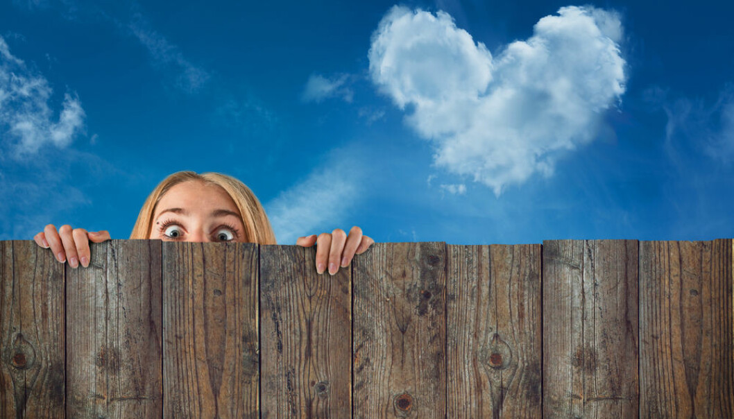 """Political persuasion is more important than skin colour. New research shows that we recognise group identities according to each specific situation. (Photo: <a href=""""http://www.shutterstock.com/pic-158938895/stock-photo-curious-hide-woman-girl-cloud-heart-shape-blue-sky-background.html"""" target=""""_blank"""">Shutterstock</a>)"""