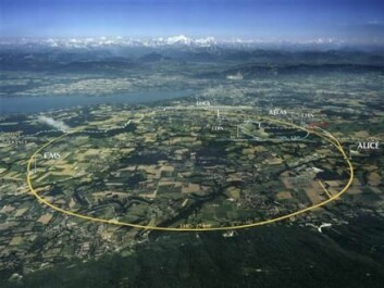 CERN is home to the famous particle accelerator, the Large Hadron Collider (LHC). The LHC has a 27 kilometre long circular tunnel (yellow line in the picture). When the LHC is running it uses huge amounts of power. (Photo: CERN)