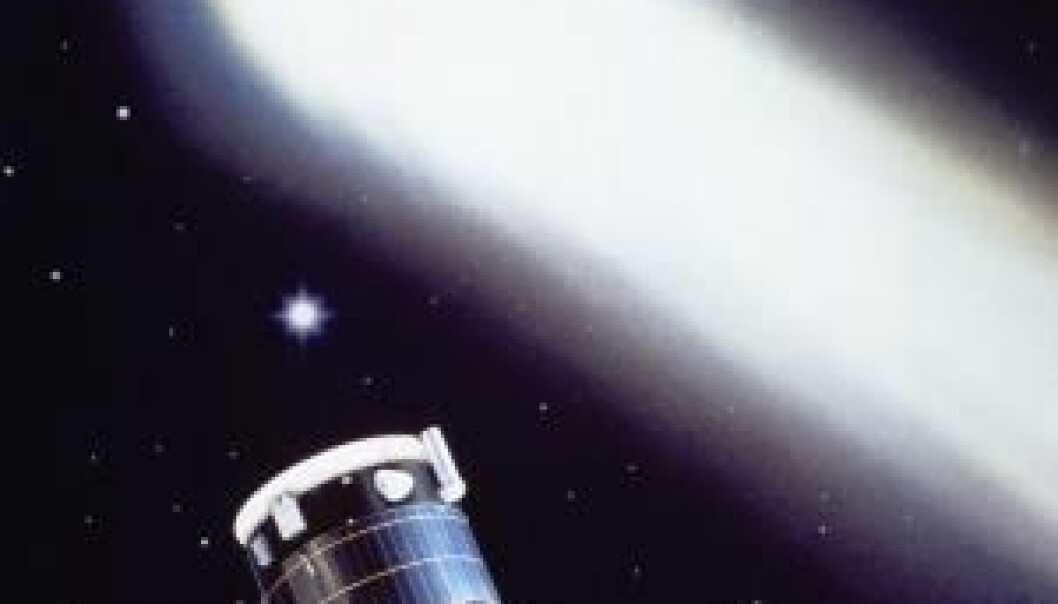 The spacecraft Giotto was very close to being destroyed by collisions with small particles of dust from Halley's comet. (Illustration: ESA)