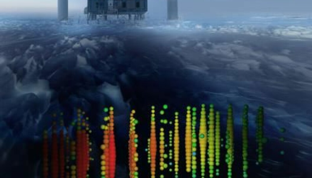 IceCube is buried under one and a half kilometres of ice at the South Pole in Antarctica. In the picture, the bubbles show the light measured by the detectors as one of the most energetic neutrinos passed through. (Illustration: IceCube Collaboration)
